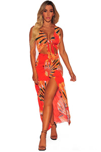 Z| Chicloth Egyptian Impression Print Tie Front High Split Maxi Dress-Chicloth