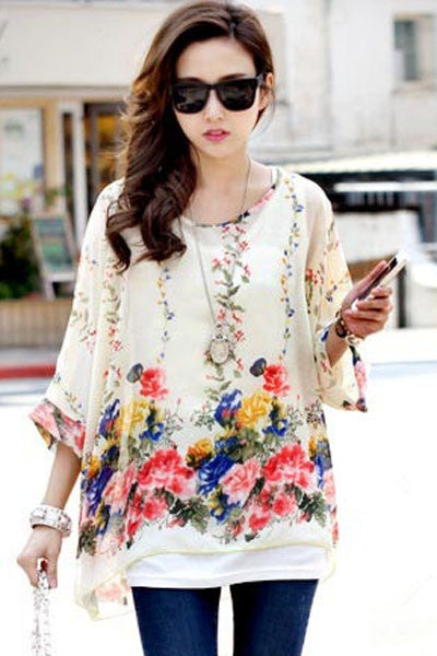 Chicloth Elegant White Chiffon Blouse with Flowery Print-Blouse-Chicloth