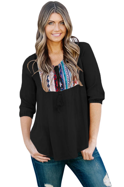 Chicloth Embroidered Neck 3/4 Sleeve Black Crepe Top