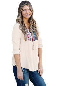 Chicloth Embroidered Neck 3/4 Sleeve Khaki Crepe Top