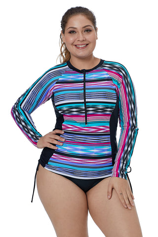 Z| Chicloth Ethnic Tribal Striped Printed Pattern Tankini Rash Guard