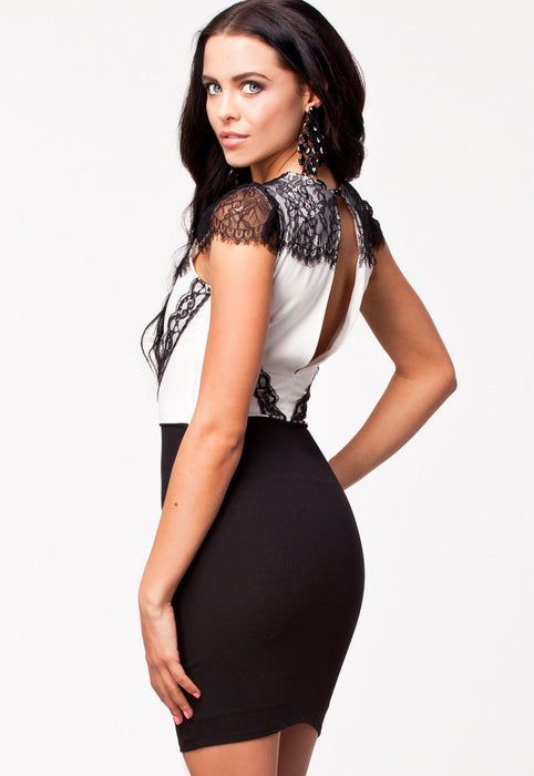 Chicloth Eyelash Adorned Black White Bodycon Dress-Chicloth
