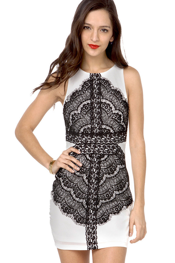 Chicloth Eyelash Lace Applique Tank Bodycon Dress-Chicloth