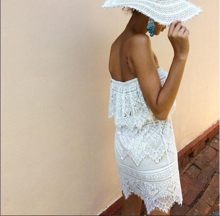 Chicloth White Lace Bandeau Dress-Chicloth