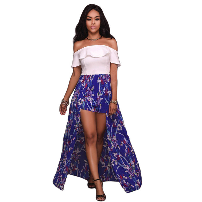 Chicloth Off The Shoulder Floral High Low Dress-Chicloth