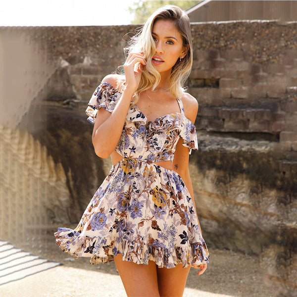 A| Chicloth Printed Off-Shoulder Mini Dress-Dresses-Chicloth