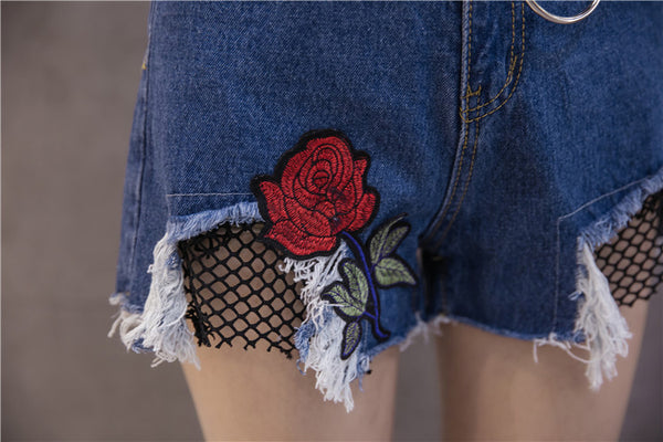 Chicloth Blue Embroidered Denim Shorts - Chicloth
