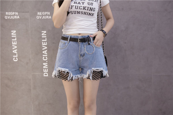 Chicloth Black net Denim Shorts-Shorts-Chicloth