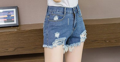 Chicloth Blue Cut-off Fringe High Waist Denim Shorts - Chicloth