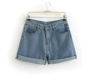 Chicloth Blue Cut-off Fringe High Waist Fit Denim Shorts-Shorts-Chicloth
