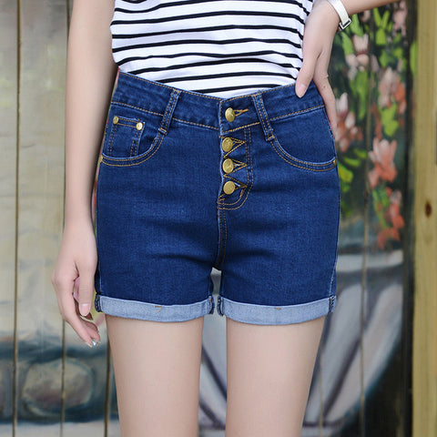 Chicloth Blue Flexible High Waist Denim Shorts-Shorts-Chicloth