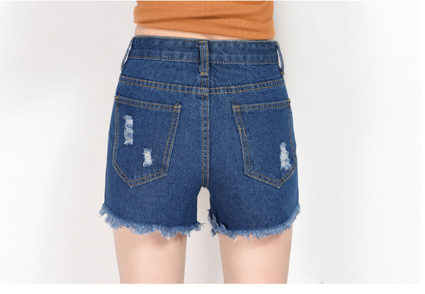 Chicloth Cut-off Fringe High Waist Denim Shorts-Shorts-Chicloth
