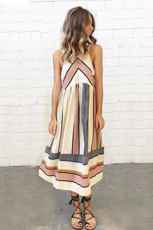 Chicloth Thick Stripes Long Dress-Dresses-Chicloth