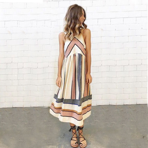 Chicloth Thick Stripes Long Dress