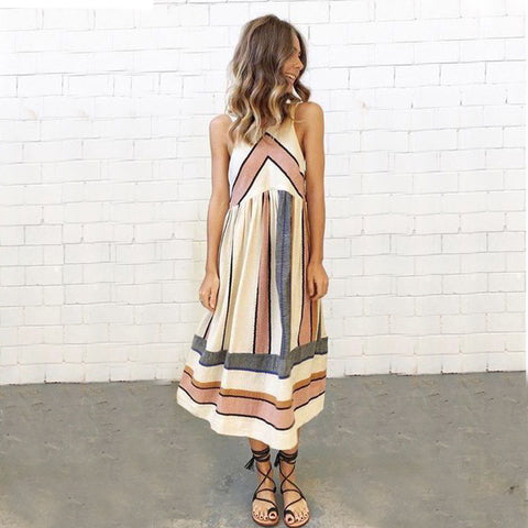 Chicloth Thick Stripes Long Dress - Chicloth