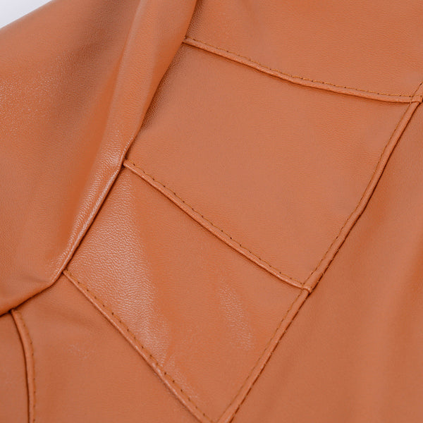 Chicloth Shiny Leather zipper pocket jacket-jacket-Chicloth