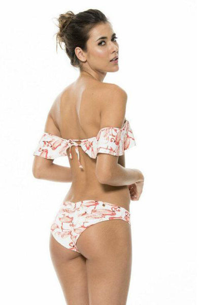 Chicloth Lotus Leaf Pink Printed String Bikini Set-Swimwear-Chicloth