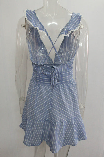 Chicloth  blue and white stripes V-collar halter dress - Chicloth