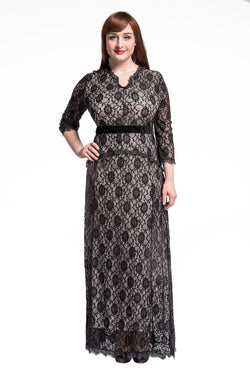 Chicloth Black Floral Lace Sleeved Fit and Flare Plus Size Maxi Dress