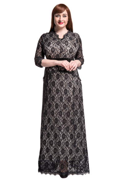 Chicloth Black Floral Lace Sleeved Fit and Flare Plus Size Maxi Dress - Chicloth