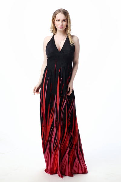 Chicloth Burgundy Black Silk Hanging Neck V Neck Plus Size Sexy Open Back Evening Dress - Chicloth