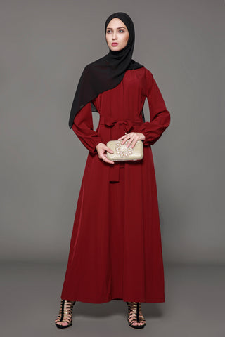 Chicloth Muslim Women Fashion Red Belt Dress - Chicloth