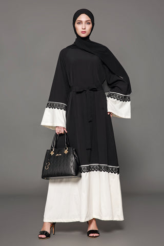 Chicloth Muslim Women Fashion Belt Black White Lace Hem Cardigan Dress - Chicloth
