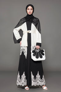 Chicloth Muslim Women Fashion Black and White Lace Hem Cardigan Dress - Chicloth