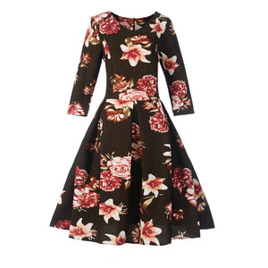 Chicloth Black Print Round Neck Half Sleeve A-Line Vintage Dress - Chicloth