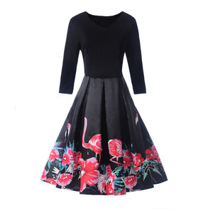 Chicloth Flamingo Print Round Neck Half Sleeve A-Line Vintage Dress - Chicloth