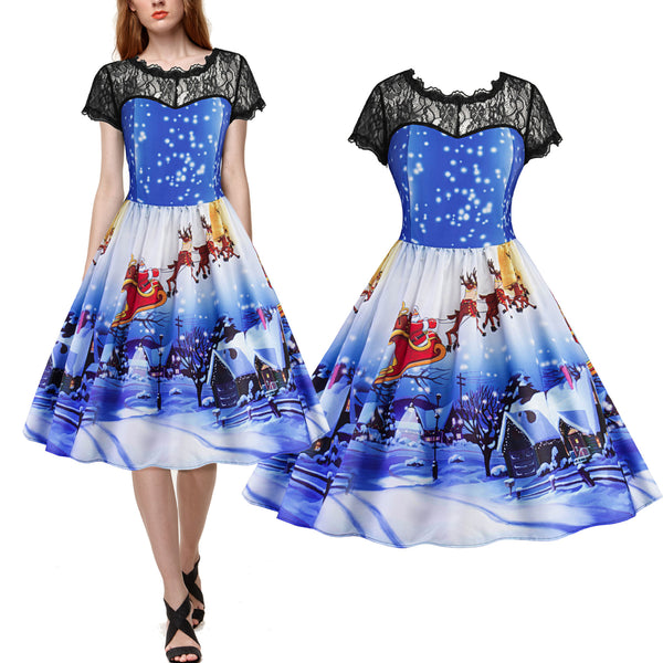 Chicloth Round Neck Black Lace Short Sleeve Christmas Eve Star Sky Print Vintage Dress