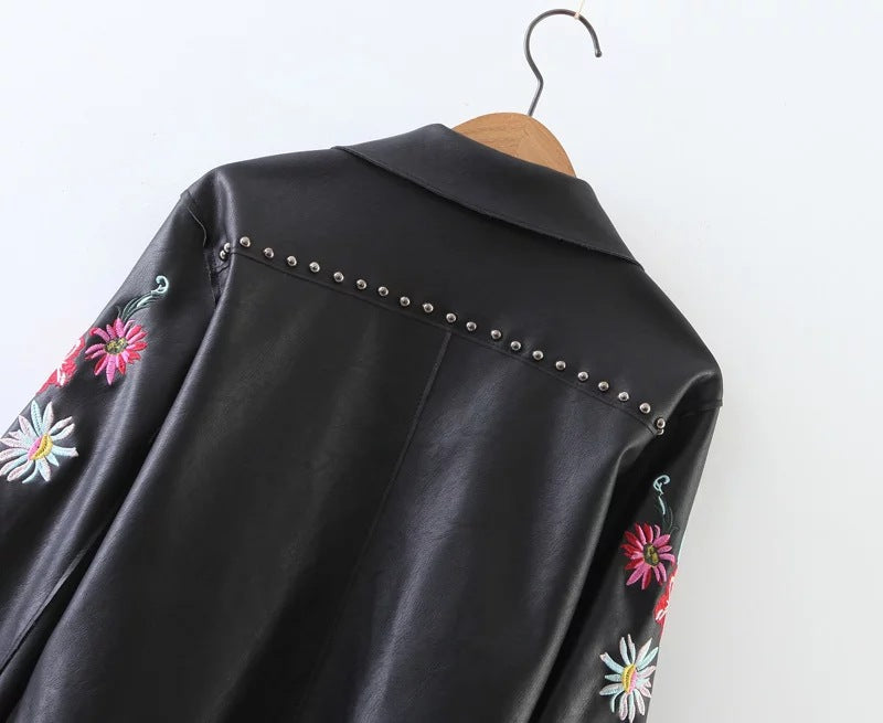 Chicloth Black Embroidered Imitation Leather Jacket-jacket-Chicloth