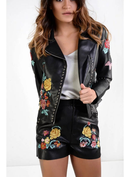 Chicloth Black Embroidered Imitation Leather Jacket - Chicloth