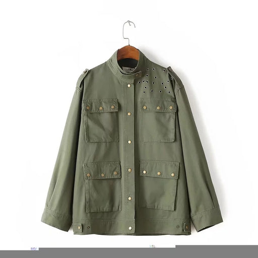 Chicloth Army Green Rivet Pocket Pocket Tooling jacket-coat-Chicloth