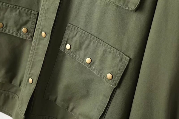 Chicloth Army Green Rivet Pocket Pocket Tooling jacket - Chicloth