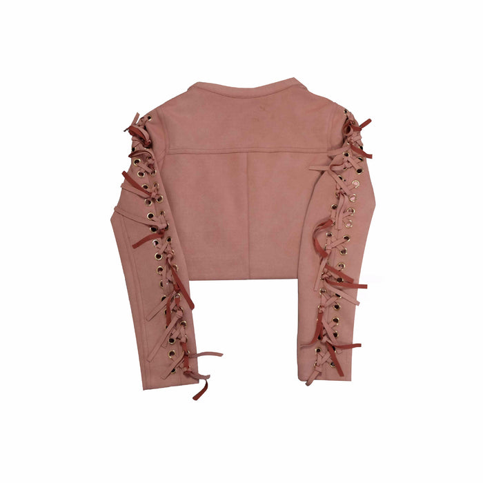 Chicloth Pink Hole String Suede Coat-coat-Chicloth