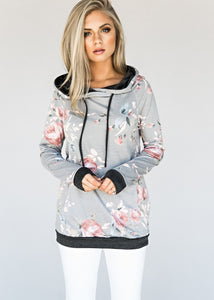 A| Chicloth Grey Floral Print Hooded T-Shirt-hoodies-Chicloth