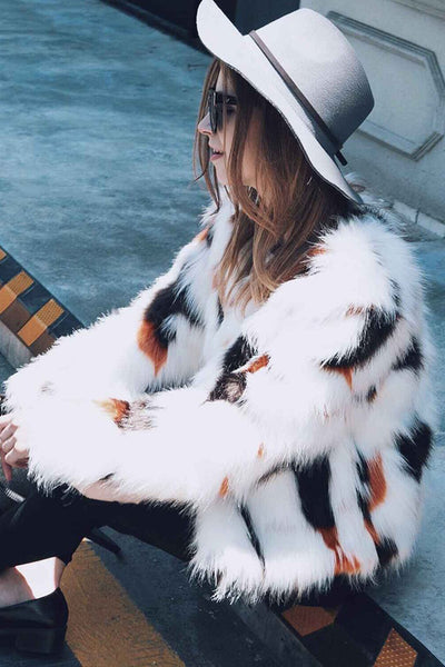 B| Chicloth Imitation Fox Fur Luxury Long Sleeve Coat-coat-Chicloth