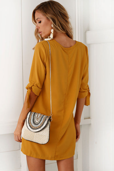 Chicloth Bow Tie Sleeve Round Neck Long Blouse - Chicloth