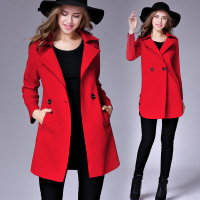 Chicloth Lapel Pocket Woolen Long Coat - XL / Red