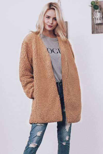 Chicloth Fashion V-Neck Imitation Fur Coat-Coat-Chicloth