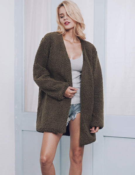 Chicloth Fashion V-Neck Imitation Fur Coat - Chicloth