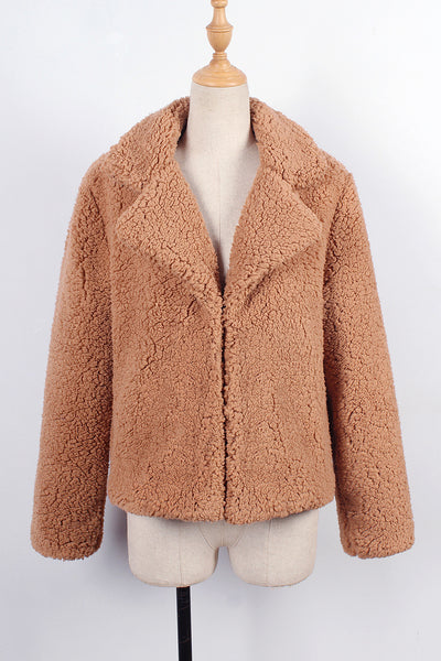 Chicloth Fashion Lapel Imitation Fur Short Coat Jacket - Chicloth