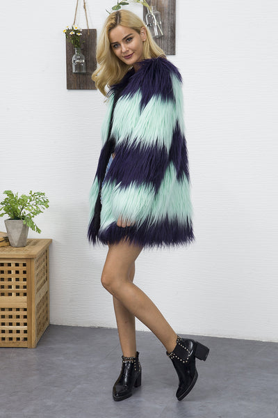 Chicloth Fashion Hit Color Imitation Fur V-Collar Coat - Chicloth