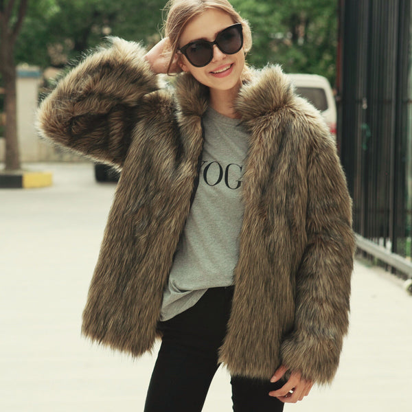 Chicloth Fashion Stand Collar Imitation Fur Coat - Chicloth