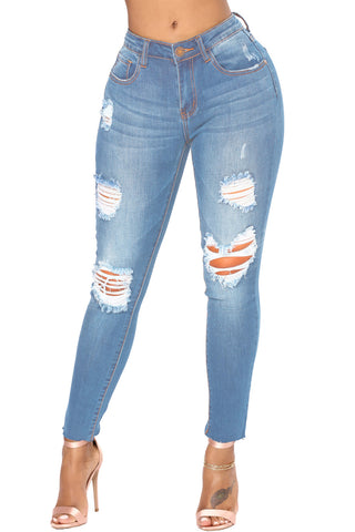 Z| Chicloth Faded Denim Wash Distressed Light Blue Jeans