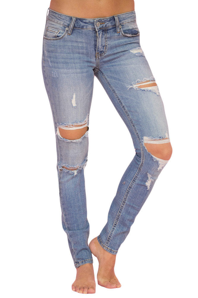 Z| Chicloth Faded Light Blue Wash Distressed Jeans-Chicloth