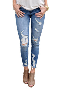Z| Chicloth Faded Medium Blue Wash Distressed Jeans