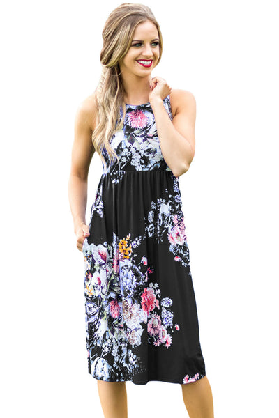 Chicloth Fall in Love with Floral Print Boho Dress in Black