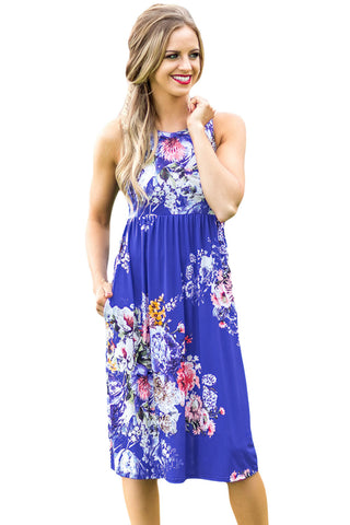Chicloth Fall in Love with Floral Print Boho Dress in Royal Blue